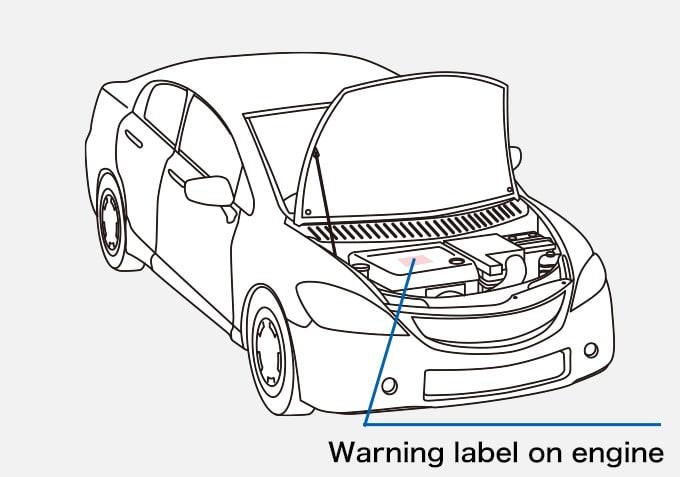 Car Warning label on engine