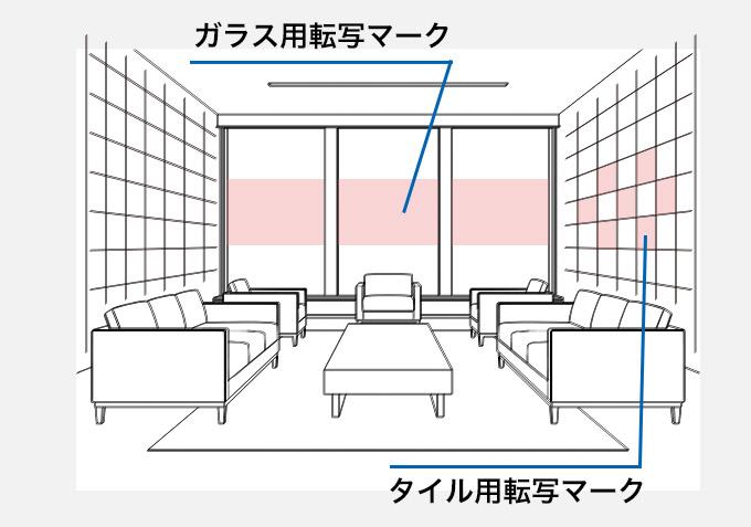 室内風景 ガラス用転写マーク、タイル用転写マーク