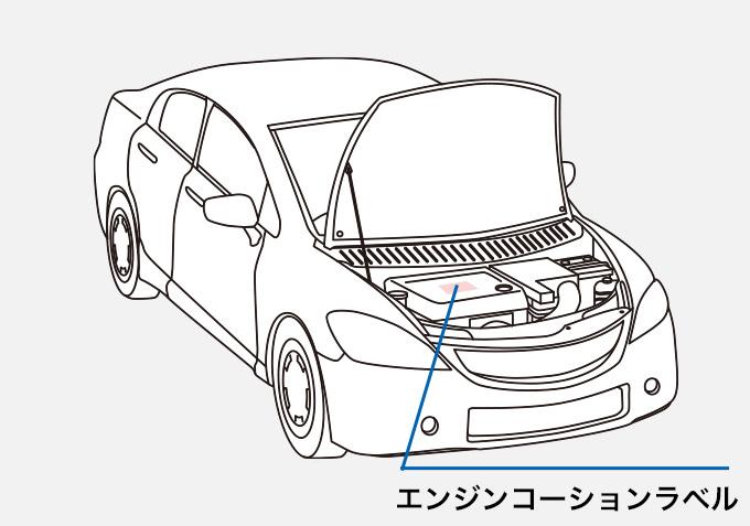 自動車 エンジンコーションラベル